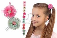 Дитячий гумка квітка для волосся з сітки Agastache 12шт, гумка для волосся, дитячі гумки для волосся