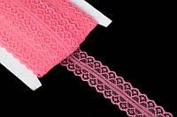 Кружево с ажурным узором Grindelia для декоративного оформления, коралловое, 14м/3см, декоративная лента,