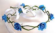 Веночек веточка плетеный, голубые розы