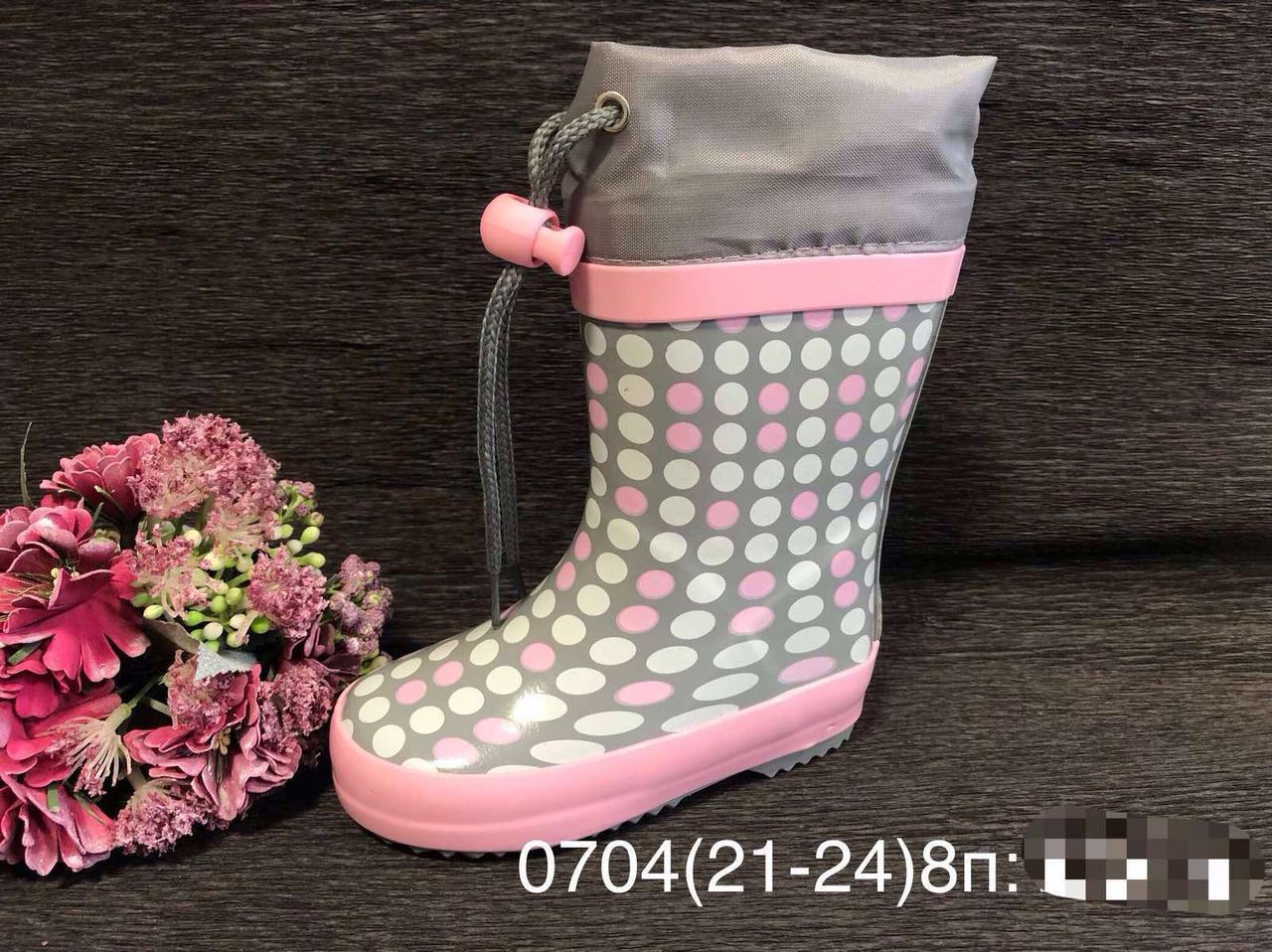 Резиновые сапоги Biki0704 горохи grey-pink 21-24