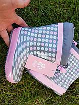 Резиновые сапоги Biki0704 горохи grey-pink 21-24, фото 3
