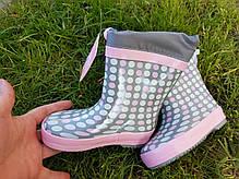 Резиновые сапоги Biki0704 горохи grey-pink 21-24, фото 2