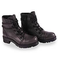 Удобные кожаные ботинки(осень, тракторная подошва, на шнуровке, цепи, серые, удобные, Аква марин)