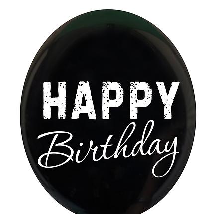 "0487 Шар 12"" (30 см) ""Happy Birthday"" на черном  (BelBal), фото 2"