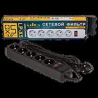 Сетевой фильтр питания с выключателем на 5 розеток LP-X5 , 3м, 220В, 50/60Гц, черный-серый, пластик, сетевой