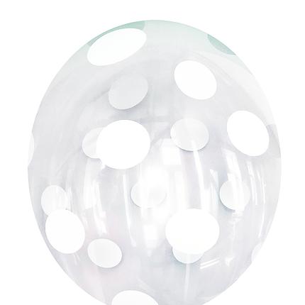 """0488 Шар 12"""" (30 см) Белый горошек на прозрачном (BelBal), фото 2"""