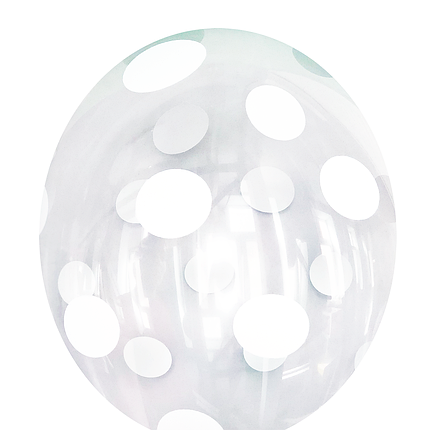 "3153 Шар 12"" BELBAL-ББ Белый горошек на прозрачном, фото 2"