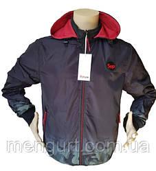 Демисезонная спортивная куртка мужская двухсторонняя со съемным капюшоном