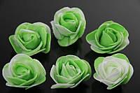 Искусственные цветы Розы из латекса для декора зеленые, 3 см, фоамиран, 200 шт, цветы из латекса, цветы для