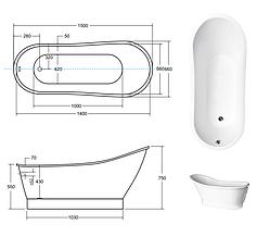Ванна отдельно стоящая GLORIA 150х66х75 см с сифоном BESCO PMD AMBITION, фото 3