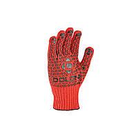 Перчатки рабочие универсальные ХБ с черной ПВХ точкой Doloni Universal оранжевые 4461, фото 1
