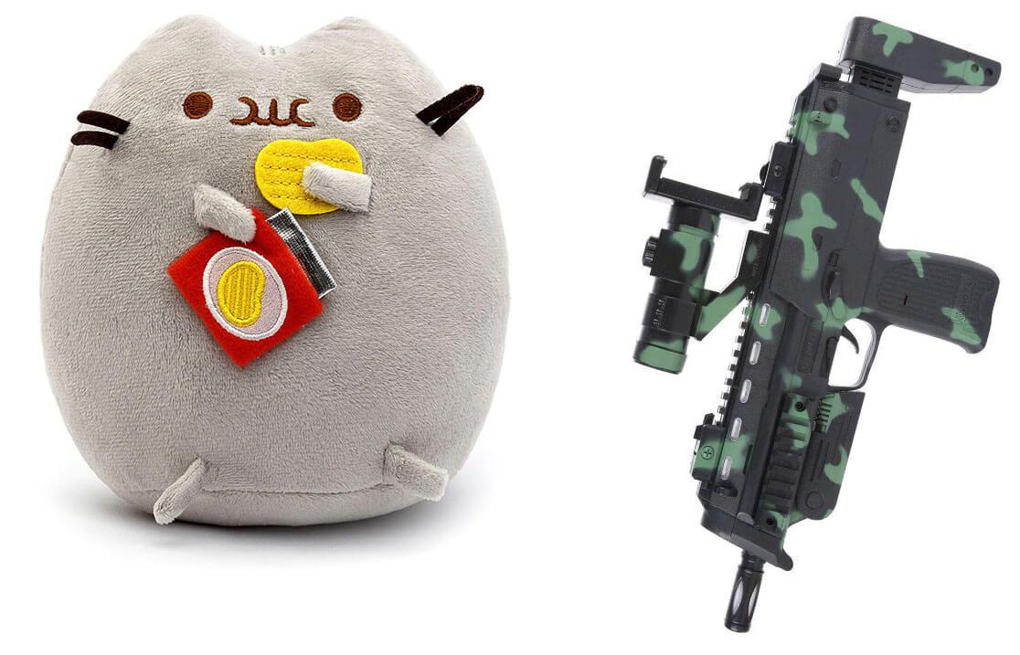Комплект Мягкая игрушка кот с чипсами Pusheen cat и Автомат дополненной реальности (n-710)
