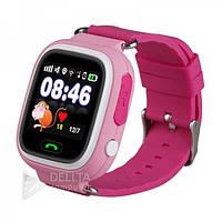 Smart часы детские сенсорные Q90 розовые, GPS/ LBS, microSIM 2G, Android и iOS, цифровые часы, шагомер,