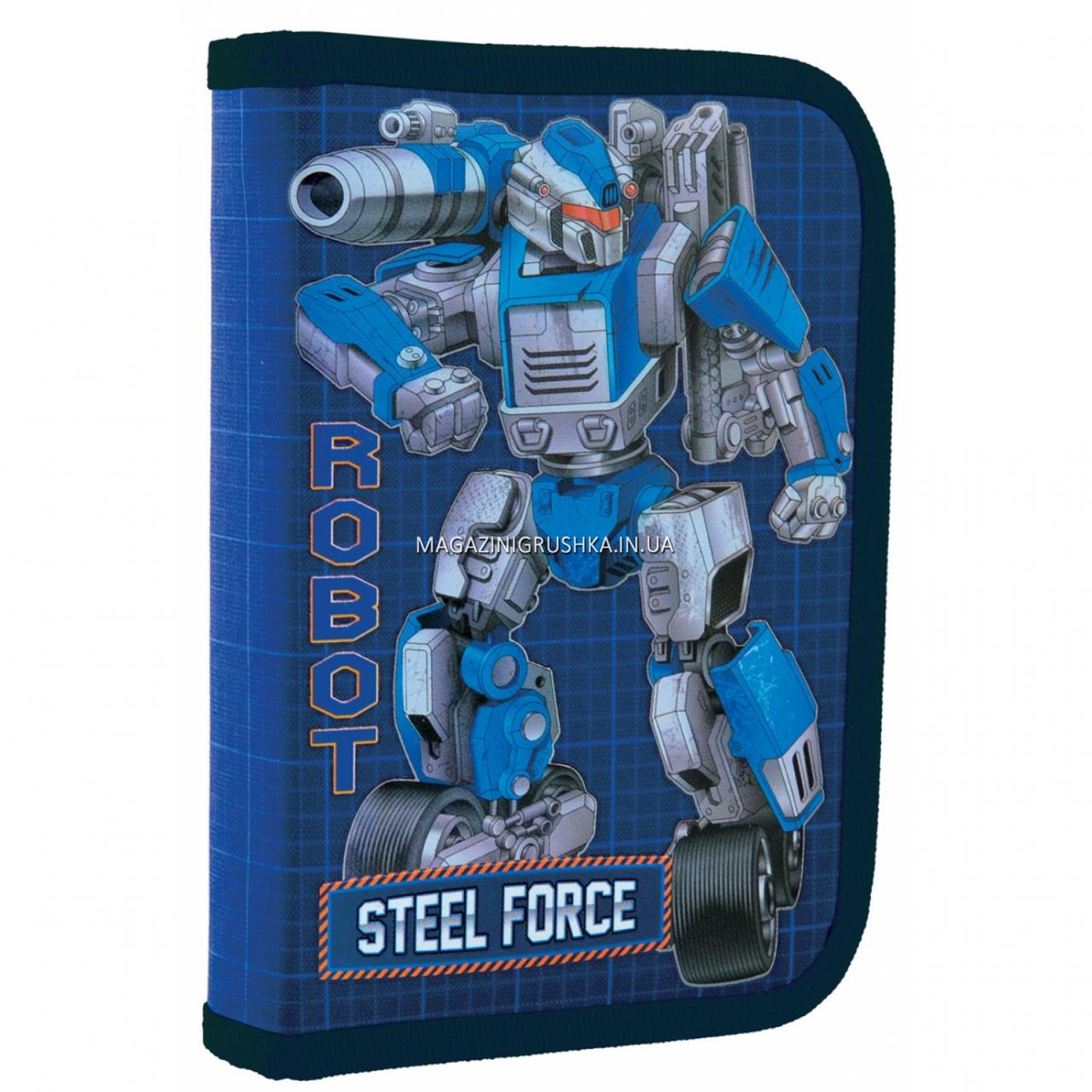 Пенал твердый 1 Вересня одинарный без клапана Steel Force Синий (532206)