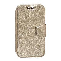"""Универсальный чехол-книжка для телефона на магнитной кнопке Shining 4"""" золотой, чехол для телефона,"""