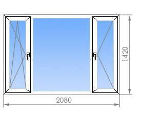 Окно металлопластиковое Steko (2080х1420) трехстворчатое ДОСТАВКА ПО УКРАИНЕ БЕСПЛАТНО!