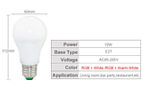 Лампа світлодіодна цветная з пультом управління Е27 10W RGB LED, фото 3