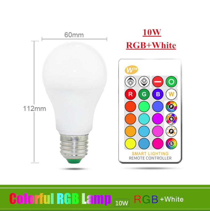 Лампа світлодіодна цветная з пультом управління Е27 10W RGB LED