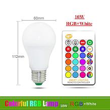 Лампа светодиодная цветная с пультом управления Е27 10W RGB LED
