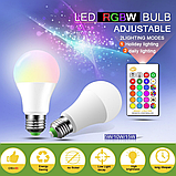 Лампа світлодіодна цветная з пультом управління Е27 10W RGB LED, фото 2
