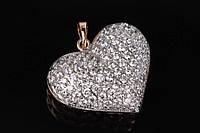 Стильный кулон в форме сердца Calluna ювелирный сплав, с камнями, кулон сердце, кулон позолота
