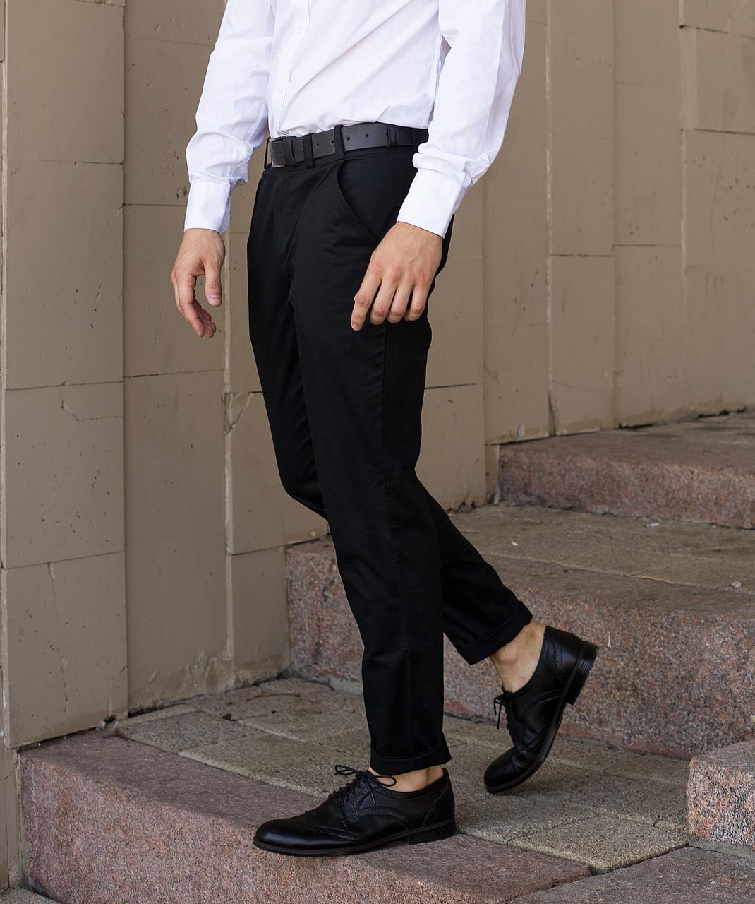 Брюки чиносы черные мужские бренд ТУР модель Стрендж (Strange)