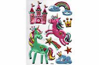 Набір декоративних наклейок для гладких поверхонь Home Decor Royal Unicorn об'ємні, ціна за 1шт, 210x300mm,