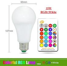 Лампа світлодіодна цветная з пультом управління 15W Е27 RGB LED