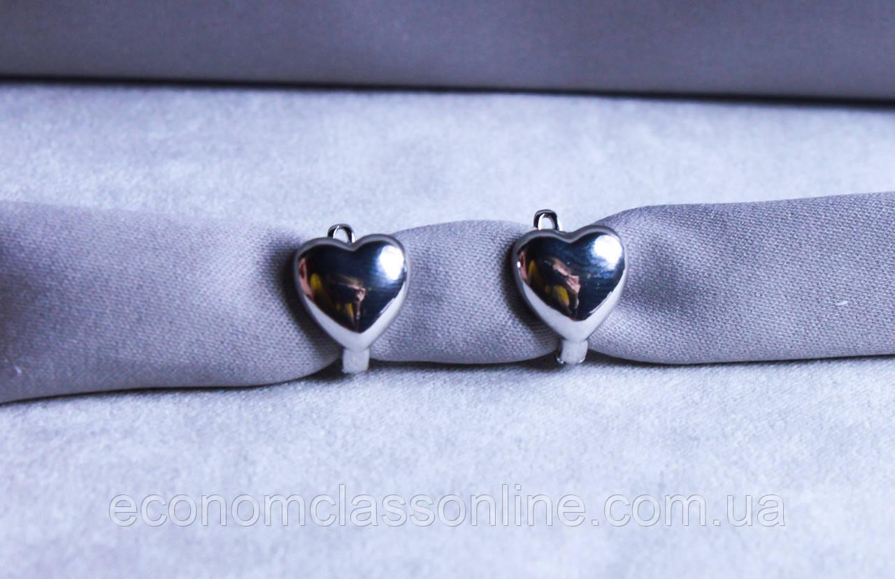 Сережки-сердечка фірми Xuping (Rhodium color 26)