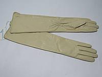 Перчатки женские зимние  бежевые до локтя  из натуральной кожи.(лайка)
