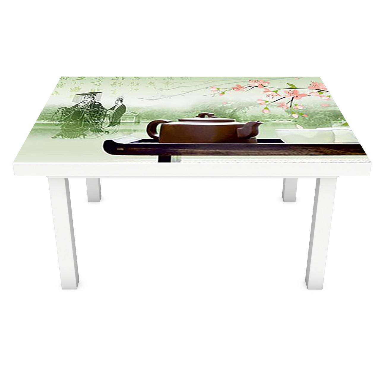 Наклейка на стіл вінілова Чай і Сакура ПВХ плівка для меблів інтер'єрна 3D Східні символи 600*1200 мм