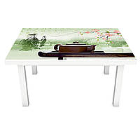 Наклейка на стіл вінілова Чай і Сакура ПВХ плівка для меблів інтер'єрна 3D Східні символи 600*1200 мм, фото 1