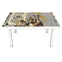 Наклейка на стол виниловая Lion Coffee 02 ПВХ пленка для мебели интерьерная 3D кофе чашка кирпичи 600*1200 мм