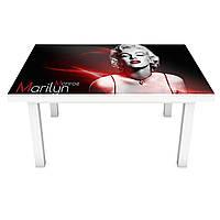 Наклейка на стол виниловая Мерлин Монро ПВХ пленка для мебели интерьерная 3D девушка люди черный 600*1200 мм