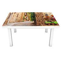Наклейка на стол виниловая Прованс Горшочки с цветами ПВХ пленка для мебели интерьерная 3D улицы 600*1200 мм