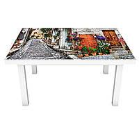 Наклейка на стол виниловая Мощенные улицы Прованса ПВХ пленка для мебели интерьерная 3D брусчатка 600*1200 мм