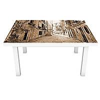 Наклейка на стол виниловая Прованс Сепия на мебель интерьерная ПВХ пленка улицы дома брусчатка 600*1200 мм