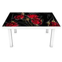 Наклейка на стол виниловая Роза Tassin 02 ПВХ пленка для мебели интерьерная 3D черный шелк 600*1200 мм, фото 1