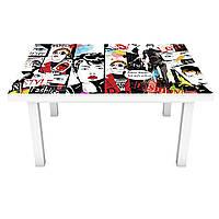 Наклейка на стіл вінілова Комікси ПВХ плівка для меблів інтер'єрна 3D малюнок люди білий 600*1200 мм