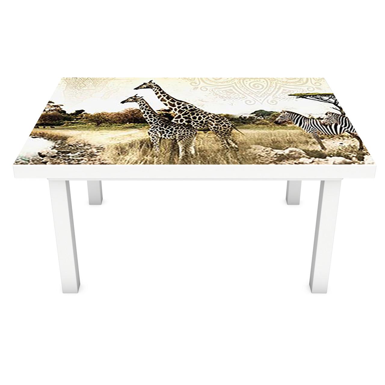 Наклейка на стіл вінілова Етно Сафарі ПВХ плівка для меблів інтер'єрна 3D слони зебри Африка 600*1200 мм