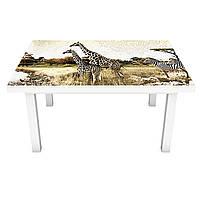 Наклейка на стіл вінілова Етно Сафарі ПВХ плівка для меблів інтер'єрна 3D слони зебри Африка 600*1200 мм, фото 1