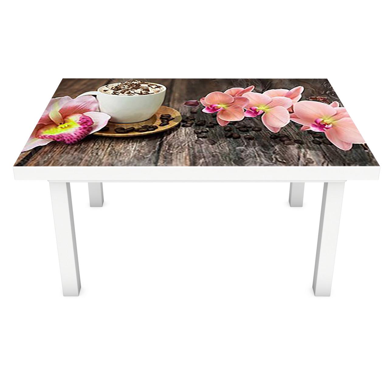 Наклейка на стіл вінілова Орхідеї і Солодощі 02 ПВХ плівка для меблів інтер'єрна 3D дошки кави 600*1200 мм