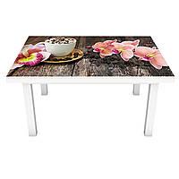 Наклейка на стіл вінілова Орхідеї і Солодощі 02 ПВХ плівка для меблів інтер'єрна 3D дошки кави 600*1200 мм, фото 1