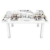 Наклейка на стіл вінілова Париж Силуети ПВХ плівка для меблів інтер'єрна 3D люди мальований 600*1200 мм