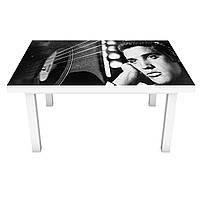 Наклейка на стіл вінілова Елвіс Преслі ПВХ плівка для меблів інтер'єрна 3D ретро співаки сірий 600*1200 мм