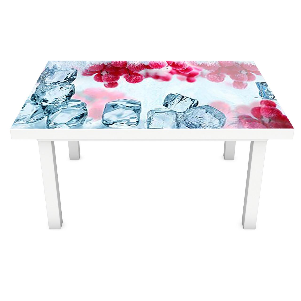 Наклейка на стол виниловая Зимняя Калина на мебель интерьерная ПВХ пленка лед красные ягоды зима 600*1200 мм