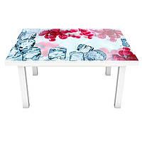 Наклейка на стіл вінілова Зимова Калина на меблі інтер'єрна ПВХ плівка лід червоні ягоди зима 600*1200 мм, фото 1