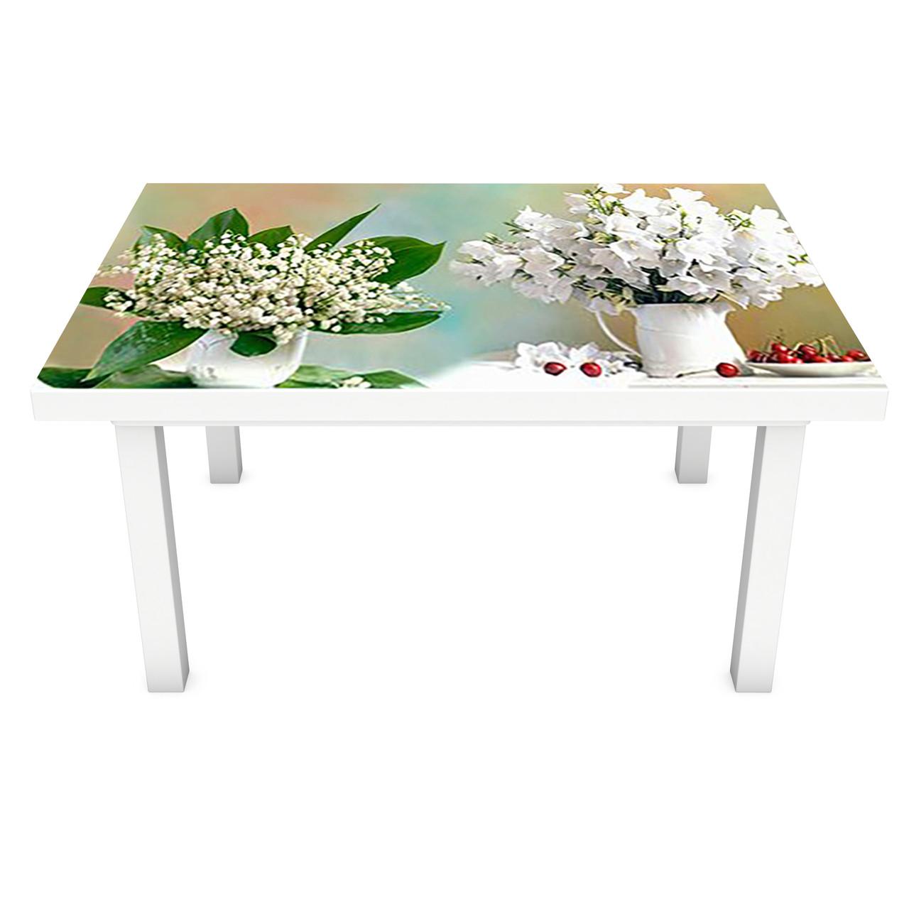 Наклейка на стіл вінілова Квіти і Ягоди 02 на меблі інтер'єрна ПВХ ромашки тюльпани конвалії 600*1200 мм