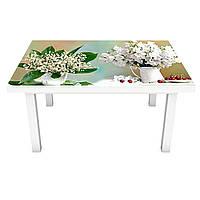 Наклейка на стіл вінілова Квіти і Ягоди 02 на меблі інтер'єрна ПВХ ромашки тюльпани конвалії 600*1200 мм, фото 1