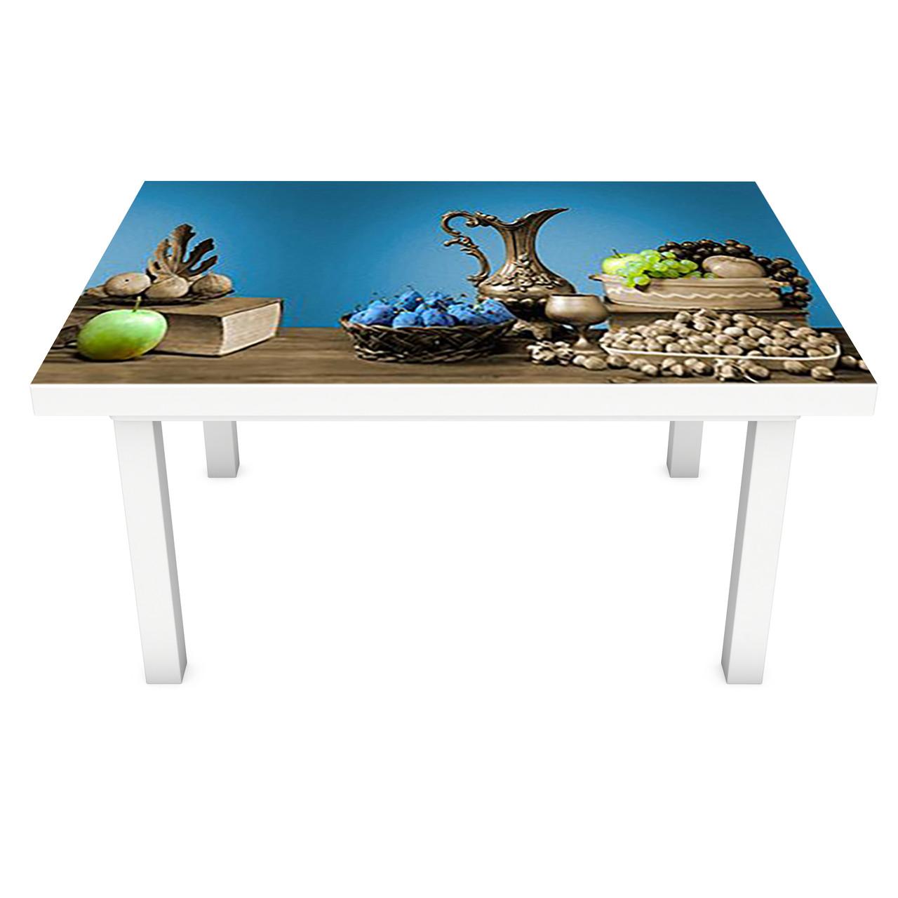 Наклейка на стол виниловая Стальные Кувшины ПВХ пленка для мебели интерьерная 3D натюрморт 600*1200 мм